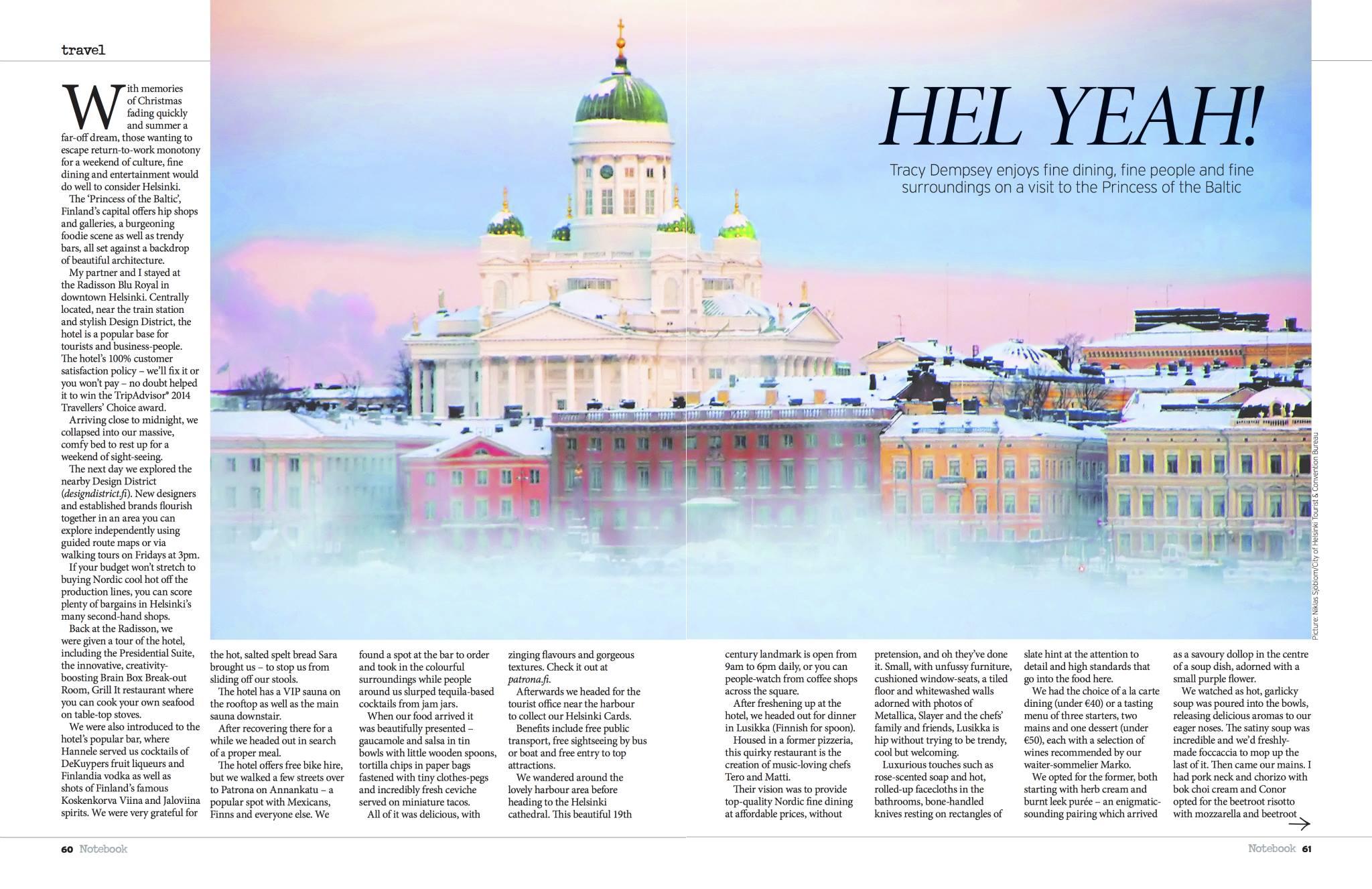 Tracy Dempsey's Helsinki travel feature for the Irish Sunday Mirror