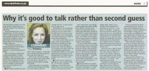"Tracy Dempsey's column in Belfast Telegraph's Jobfinder - ""It's Good To Talk"""