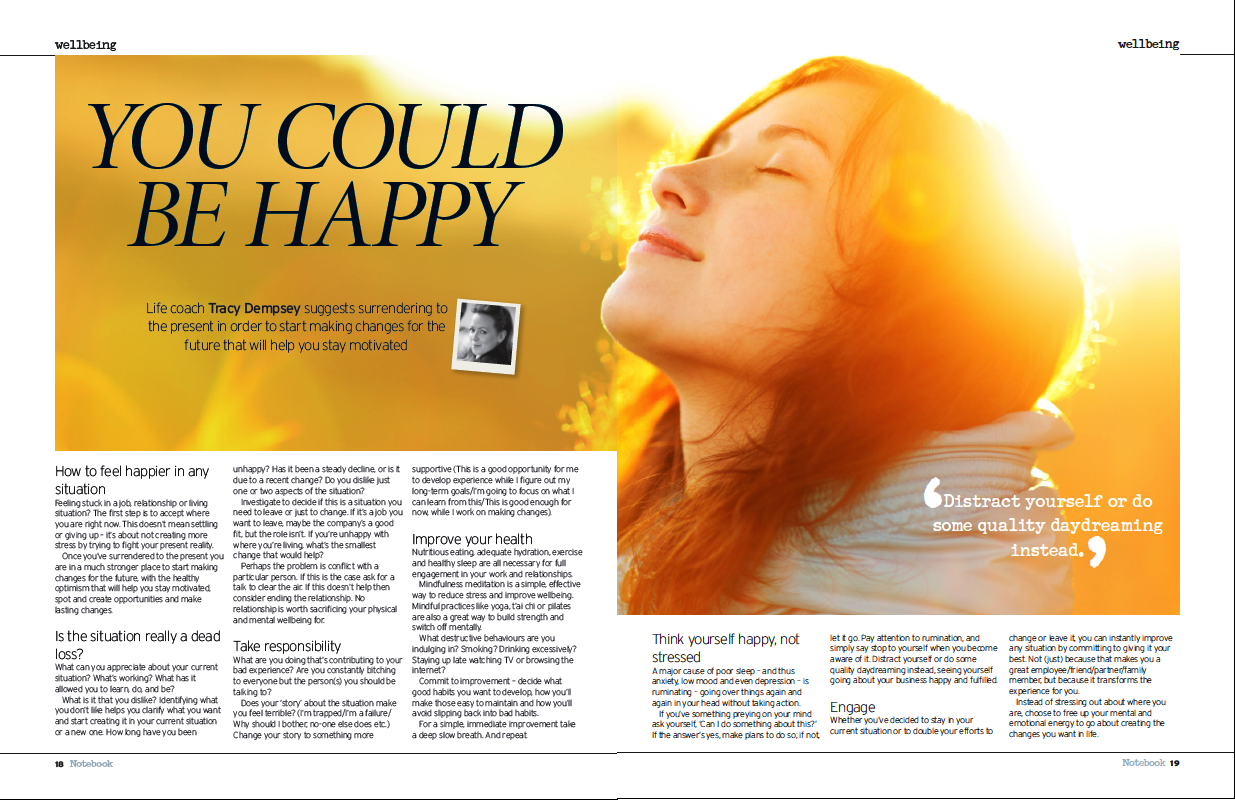 "Tracy Dempsey's wellbeing column in the Irish Sunday Mirror - ""You could be happy"""